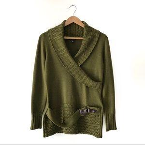 Angora/Wool Blend Knit Sweater L Green